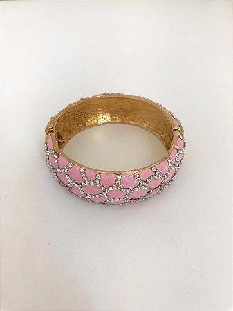Bracelete Rosa Cravejado