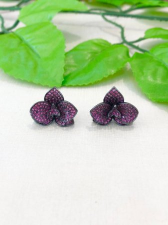 Brinco Orquídea Cravejado