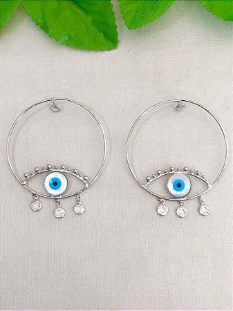 Brinco Argola Olho Grego Azul Com Luz Penduradas