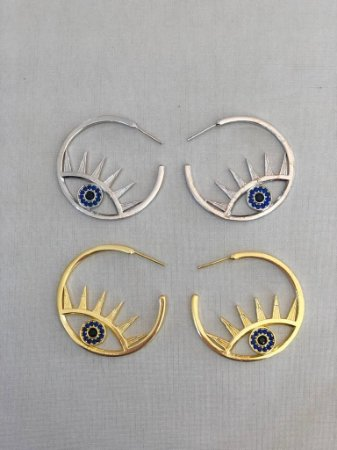 Brinco Argola Olho Vazado Azul