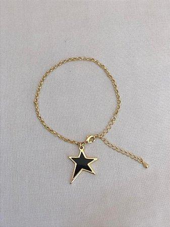 Pulseira Com Estrela Negra Dourado