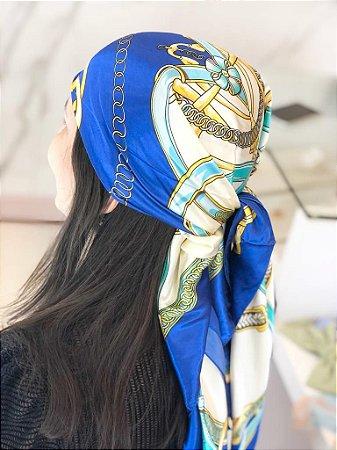 Lenço Estampa Corrente Azul Marinho