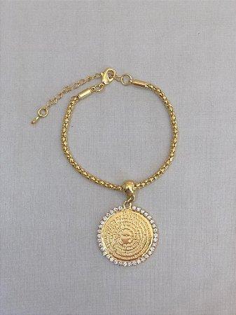 Pulseira Medalha Pai Nosso Dourada