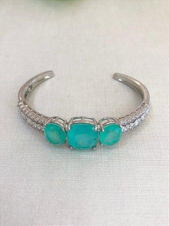 Bracelete Pedra Quadrada Verde