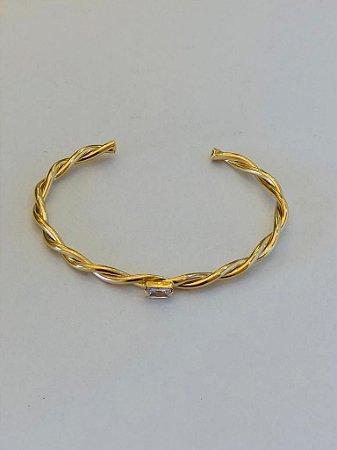 Bracelete Torcido Quadradinho Cristal Dourada