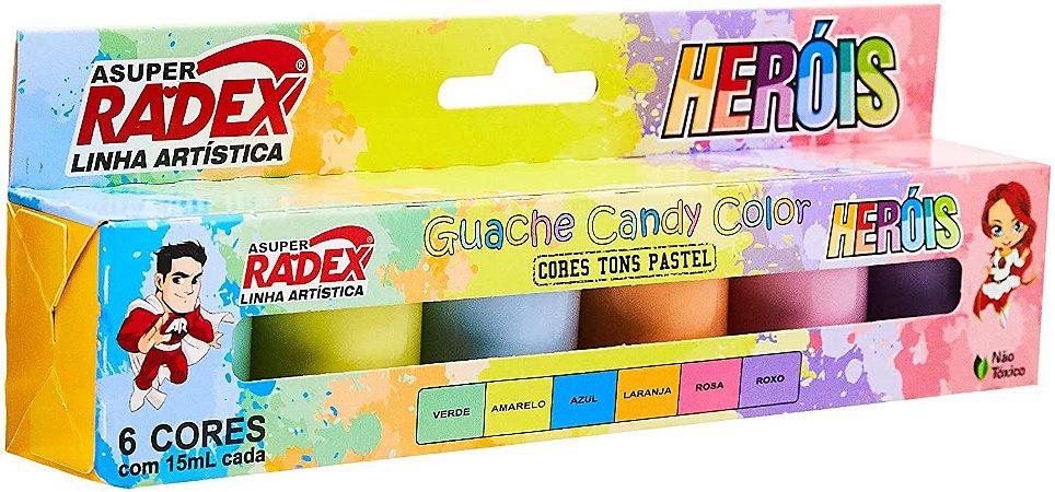 Tinta Guache Candy Color Heróis RADEX - Tons Pastel - 15 ml - 6 cores