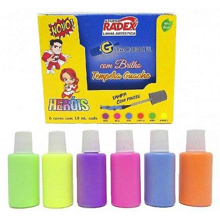 Tempera Guache Guachincel Cores Neon com Brilho Heróis RADEX - 18 ml - 6 cores