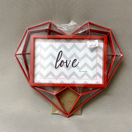 Porta Retrato LOVE Coração Geométrico 10x15 cm