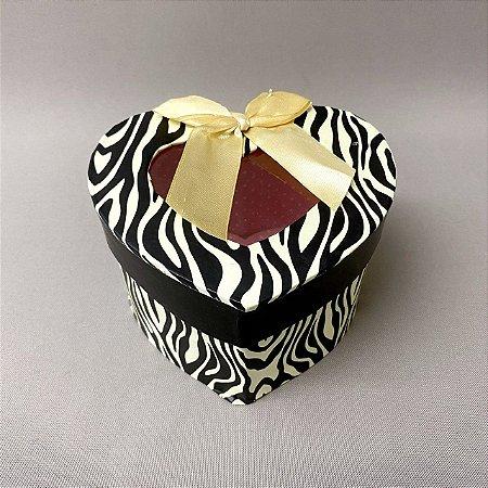 Caixinha de Presente Coração Estampa Zebra 12,5cm