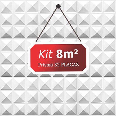 Kit 8m² Placas de Revestimento 3D Prisma