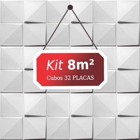 Kit 8m²  Revestimento 3D Cubos