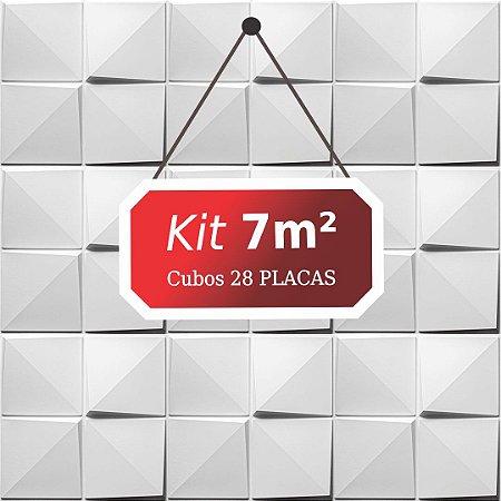 Kit 7m²  Revestimento 3D Cubos