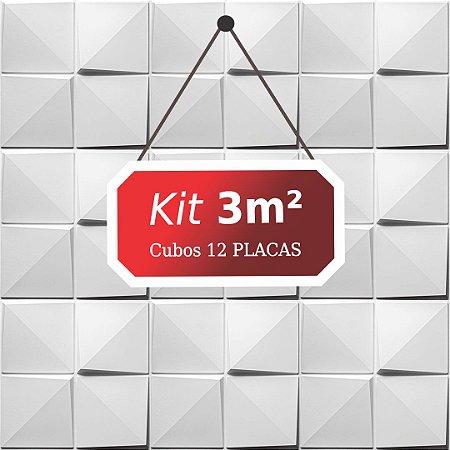 Kit 3m²  Revestimento 3D Cubos