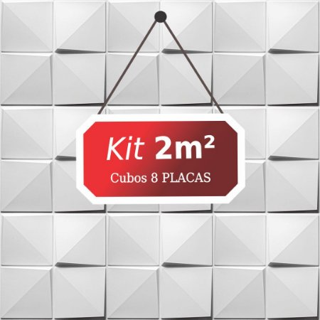 Kit 2m²  Revestimento 3D Cubos