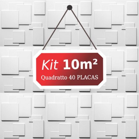 Kit 10m² Placas de Revestimento 3D Quadratto