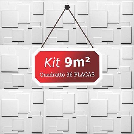 Kit 9m² Placas de Revestimento 3D Quadratto