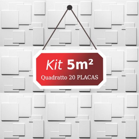 Kit 5m² Placas de Revestimento 3D Quadratto