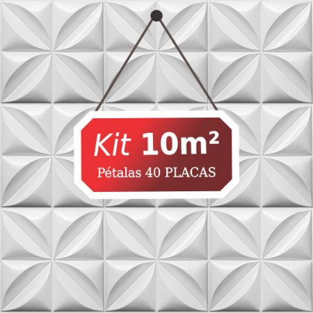 Kit 10m² Placas de Revestimento 3D Pétalas