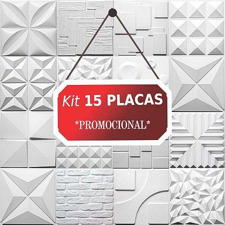 Kit 15 placas Revestimento 3D Tijolinho encaixe