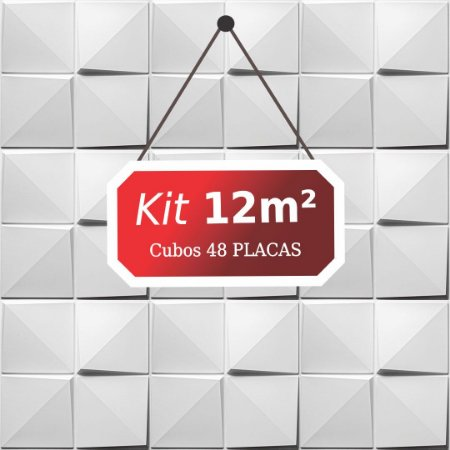 Kit 12m²  Revestimento 3D Cubos