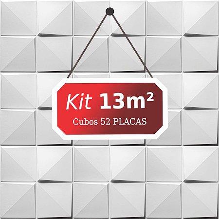 Kit 13m²  Revestimento 3D Cubos