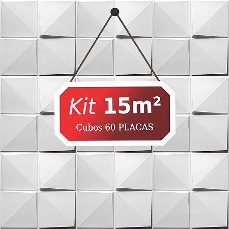 Kit 15m²  Revestimento 3D Cubos