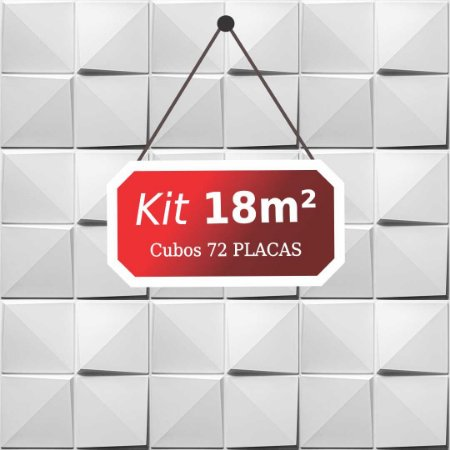 Kit 18m²  Revestimento 3D Cubos