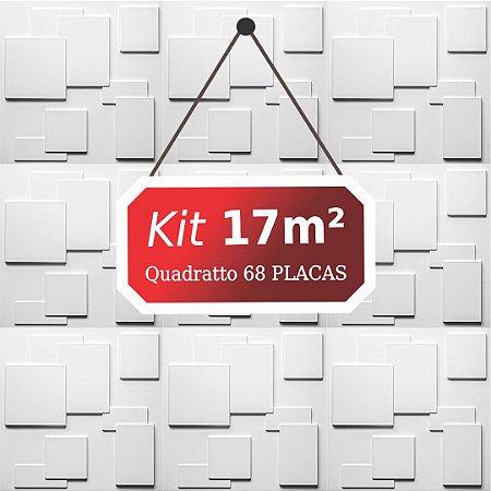 Kit 17m² Placas de Revestimento 3D Quadratto