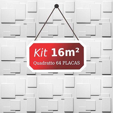 Kit 16m² Placas de Revestimento 3D Quadratto
