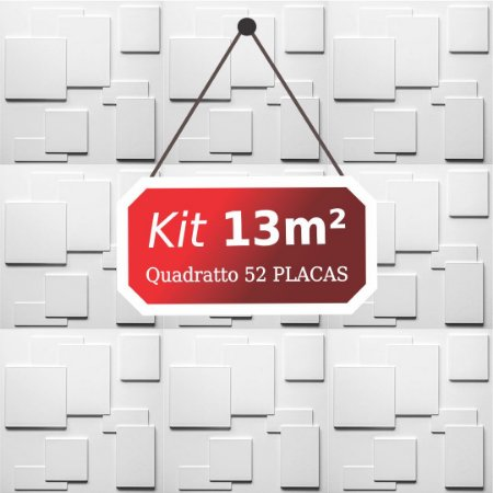 Kit 13m² Placas de Revestimento 3D Quadratto