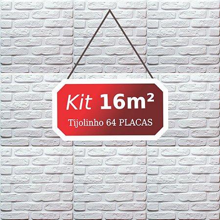 Kit 16m² Revestimento 3D Tijolinho
