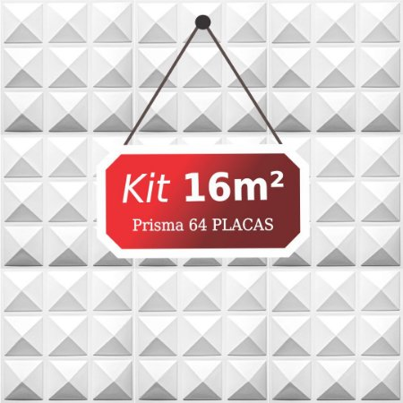 Kit 16m² Placas de Revestimento 3D Prisma