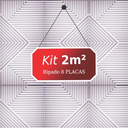 Kit 2m² Placas de Revestimento 3D Ripado