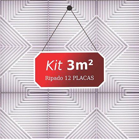 Kit 3m² Placas de Revestimento 3D Ripado