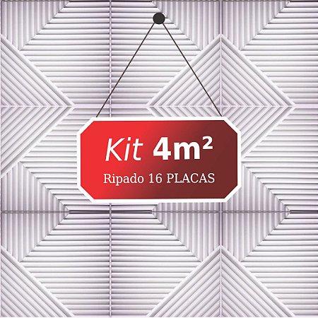 Kit 4m² Placas de Revestimento 3D Ripado