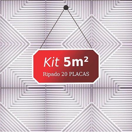 Kit 5m² Placas de Revestimento 3D Ripado