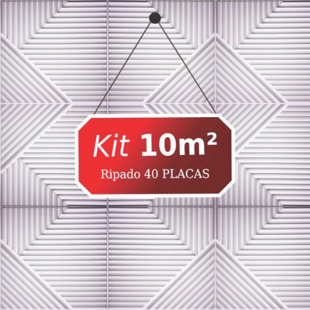 Kit 10m² Placas de Revestimento 3D Ripado