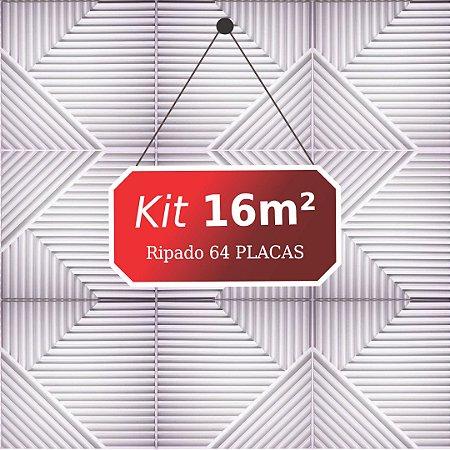 Kit 16m² Placas de Revestimento 3D Ripado