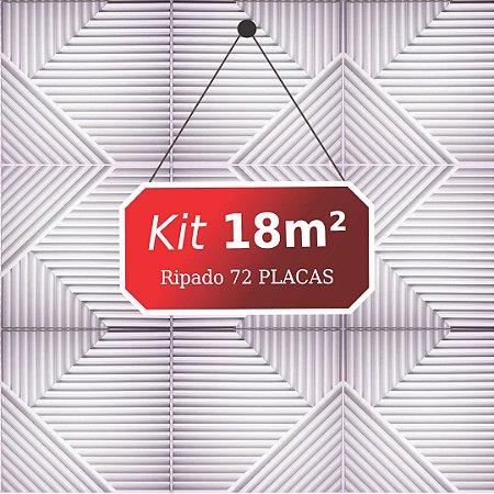 Kit 18m² Placas de Revestimento 3D Ripado