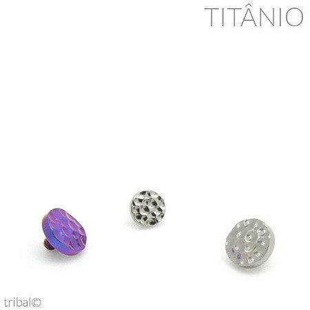 Topo Microdermal Disco Martelado Titânio