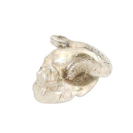 Crânio com Serpente em Cristal Quartzo Transparente com Rutilo 197gr