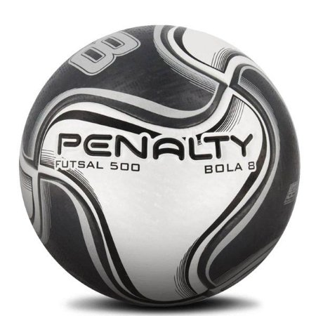 Bola Penalty Futsal 500 Bola 8 Cinza & Preto