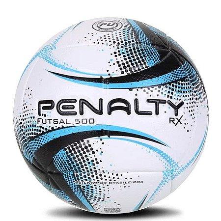 Bola Penalty Futsal 500 RX Branco Preto & Azul