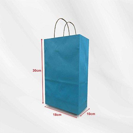 Sacola Azul em Papel Kraft 110g - 100 Unidades