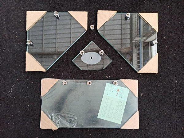 Kit prateleira em vidro incolor 8 mm - 4 peças