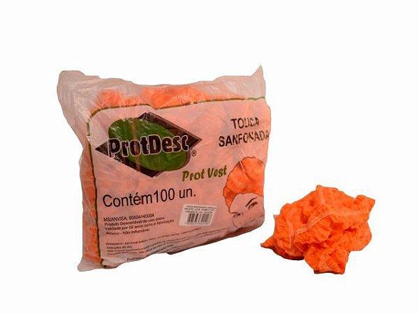 Touca Sanfonada Descartável - 100un - ProtDesc laranja