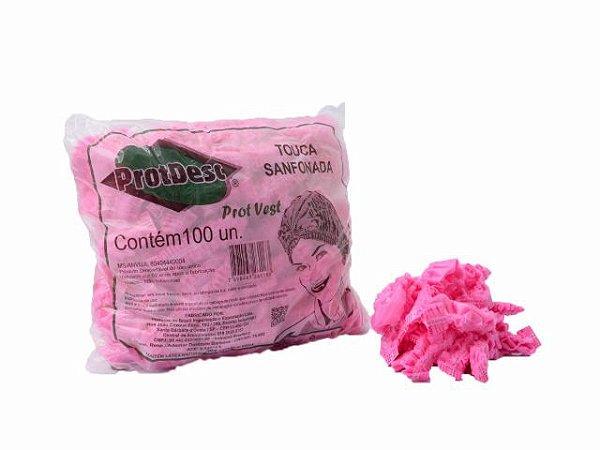 Touca Sanfonada Descartável - 100un - ProtDesc rosa
