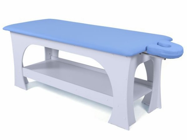 Maca de Massagem Bella - Fixa - 80cm de Largura - Base Branca - Arktus azul claro