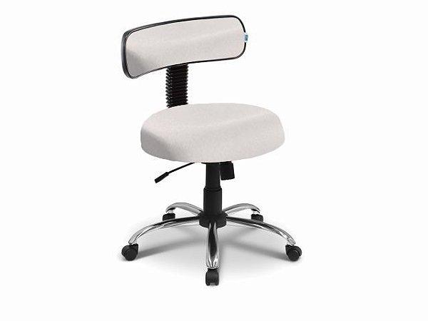 Cadeira Mocho - Com Encosto - Base Cromada - Arktus branco