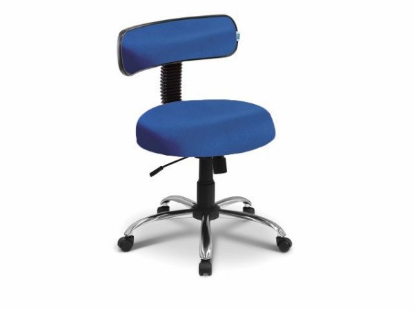 Cadeira Mocho - Com Encosto - Base Cromada - Arktus azul claro
